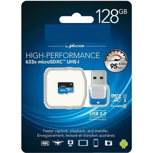 Carte mémoire MicroSDXC Classe 10 UHS-I - 128 Go + Lecteur USB 3.0