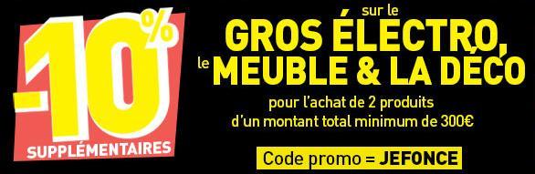 10% de réduction dès 300€ d'achat sur une sélection de rayons (meubles,gros électroménager)