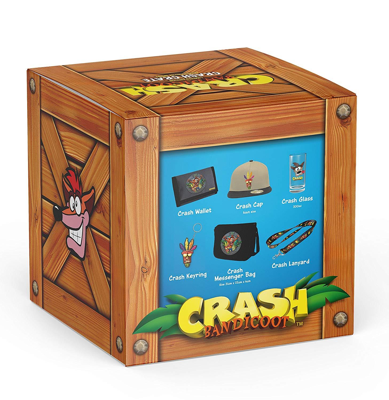 Coffret de produits dérivés Crash Bandicoot - casquette + dragonne + porte-clés + portefeuilles + sac bandoulière + verre