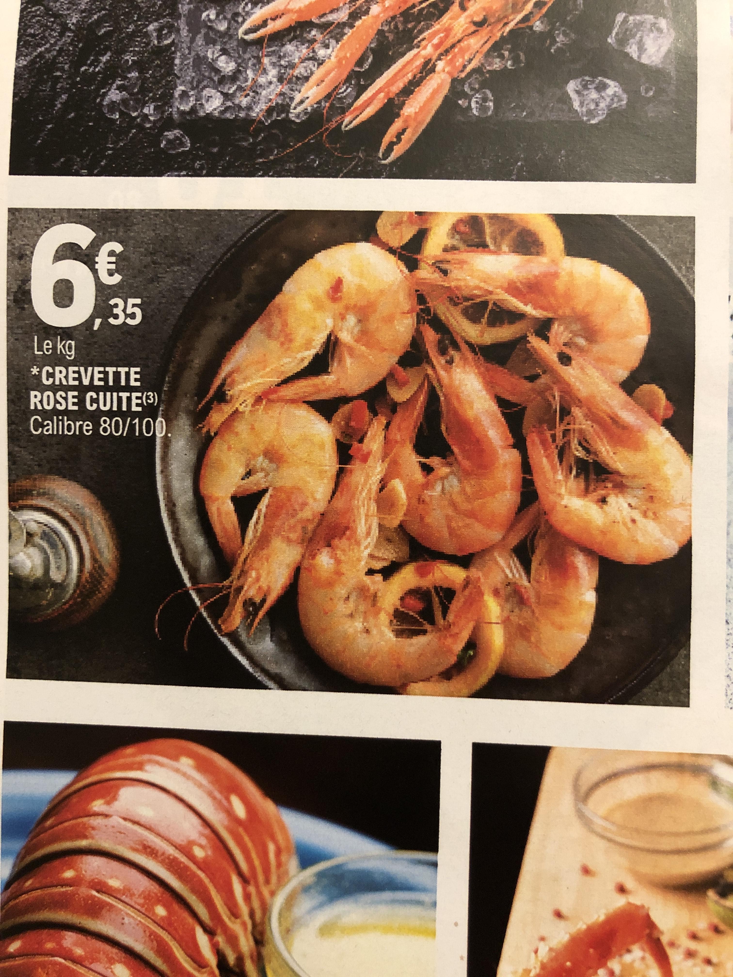 Crevette rose cuite - 1 kg, Calibre 80/100