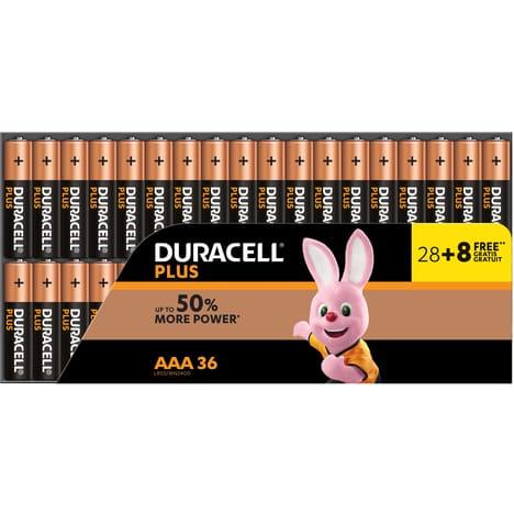 Lot de 36 piles Duracell Plus Power AA ou AAA - Cognac (16)