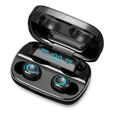 Ecouteurs bluetooth Unotec Twin 5 - Noir + Boitier de charge 1200 mAh