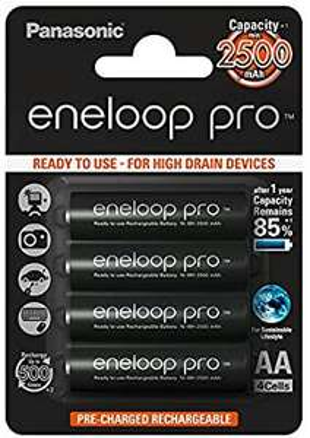 Sélection de piles rechargeables Panasonic - ex: Pack de 4 Accus Eneloop pro AA 2500mAh