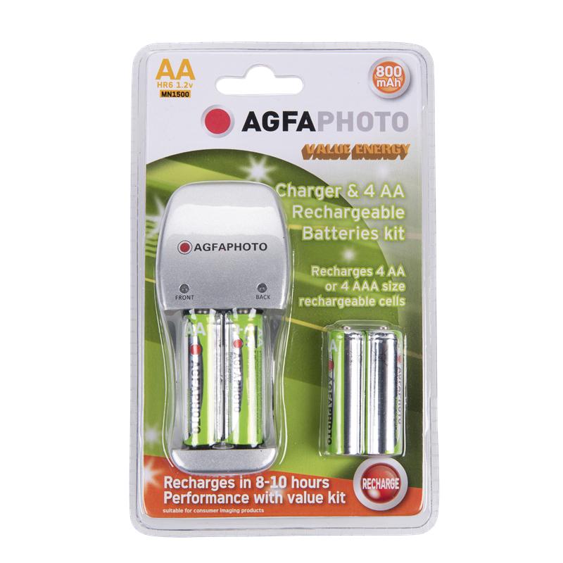 Chargeur de Piles avec 4 piles AA rechargeables