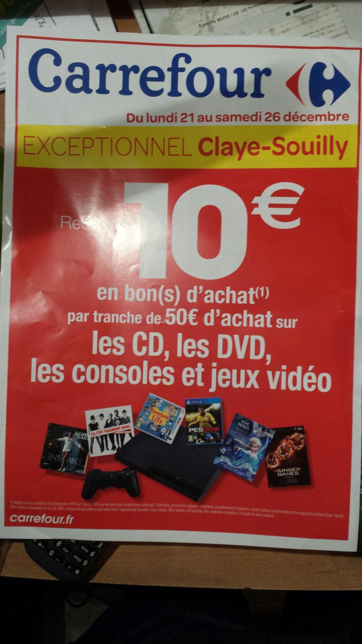"""10€ offerts en bon d'achat par tranche de 50 € d'achat sur les CD, DVD, Consoles et Jeux Video exemple Console PS4 noire 1To """"20th anniversaire"""" avec 2 manettes + 1 an d'abonnement au PS+ a 320e"""