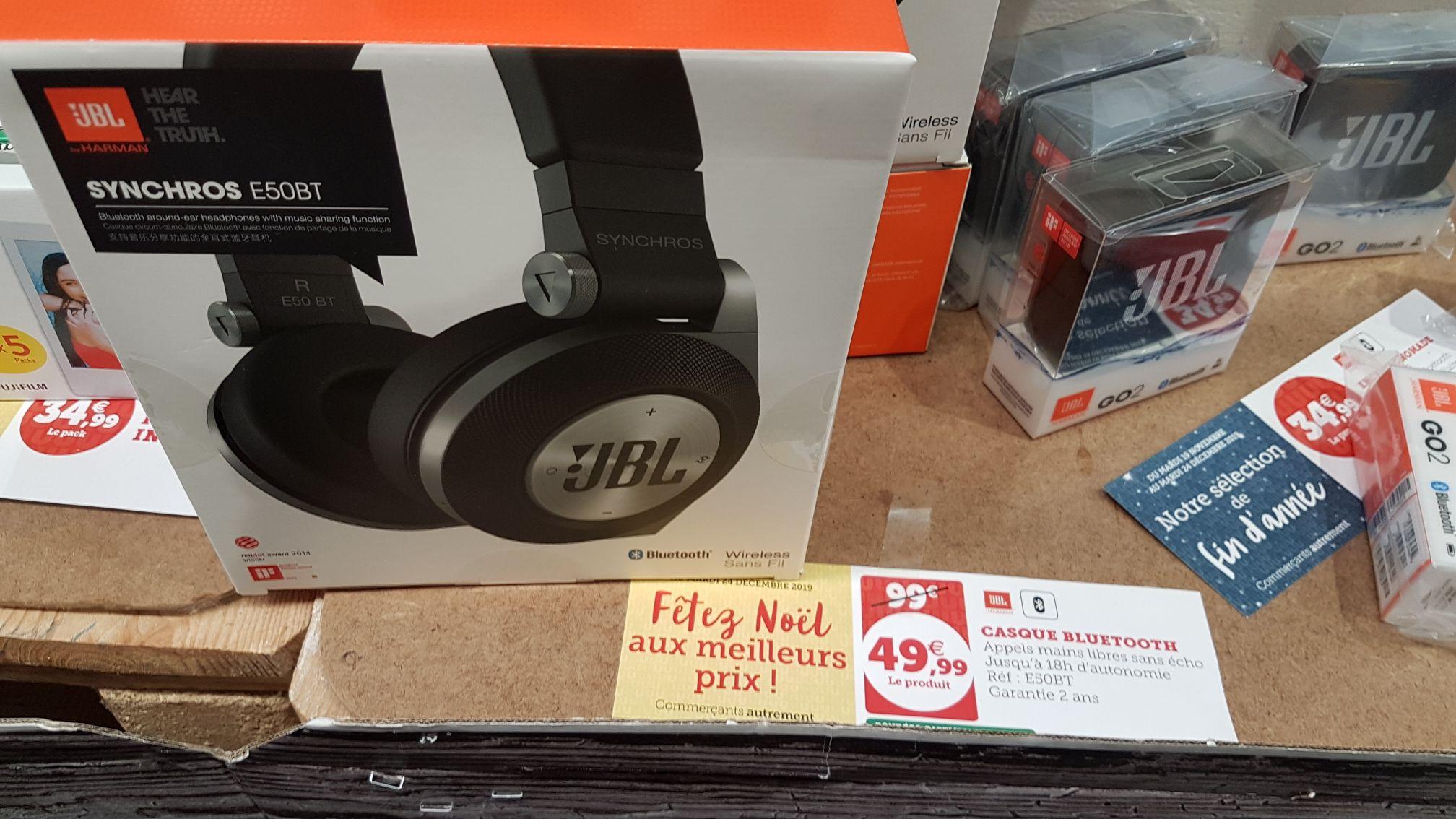 Casque audio sans-fil JBL E50BT - Bluetooth, Noir. Super U Gundershoffen (67)