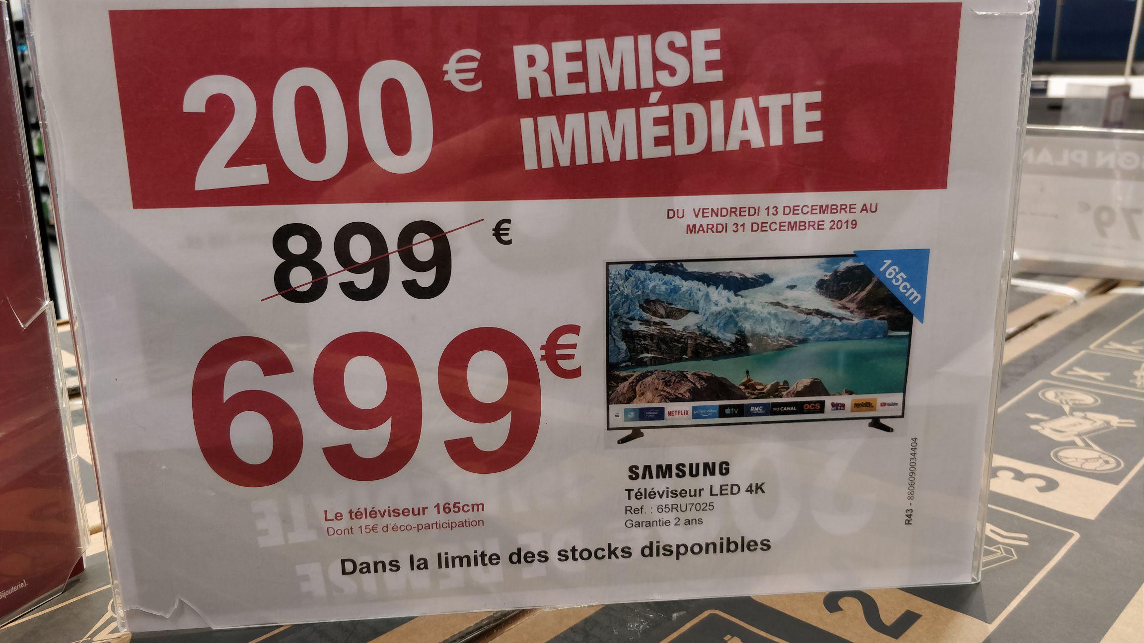 "TV 65"" Samsung 65RU7025 - 4K UHD, Carrefour Flins (78)"