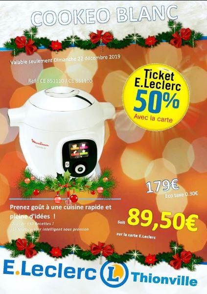 Multicuiseur Cookeo+ Moulinex - 6L, 1600W, 150 recettes (via 89.50€ sur la carte E.Leclerc) Thionville (57)