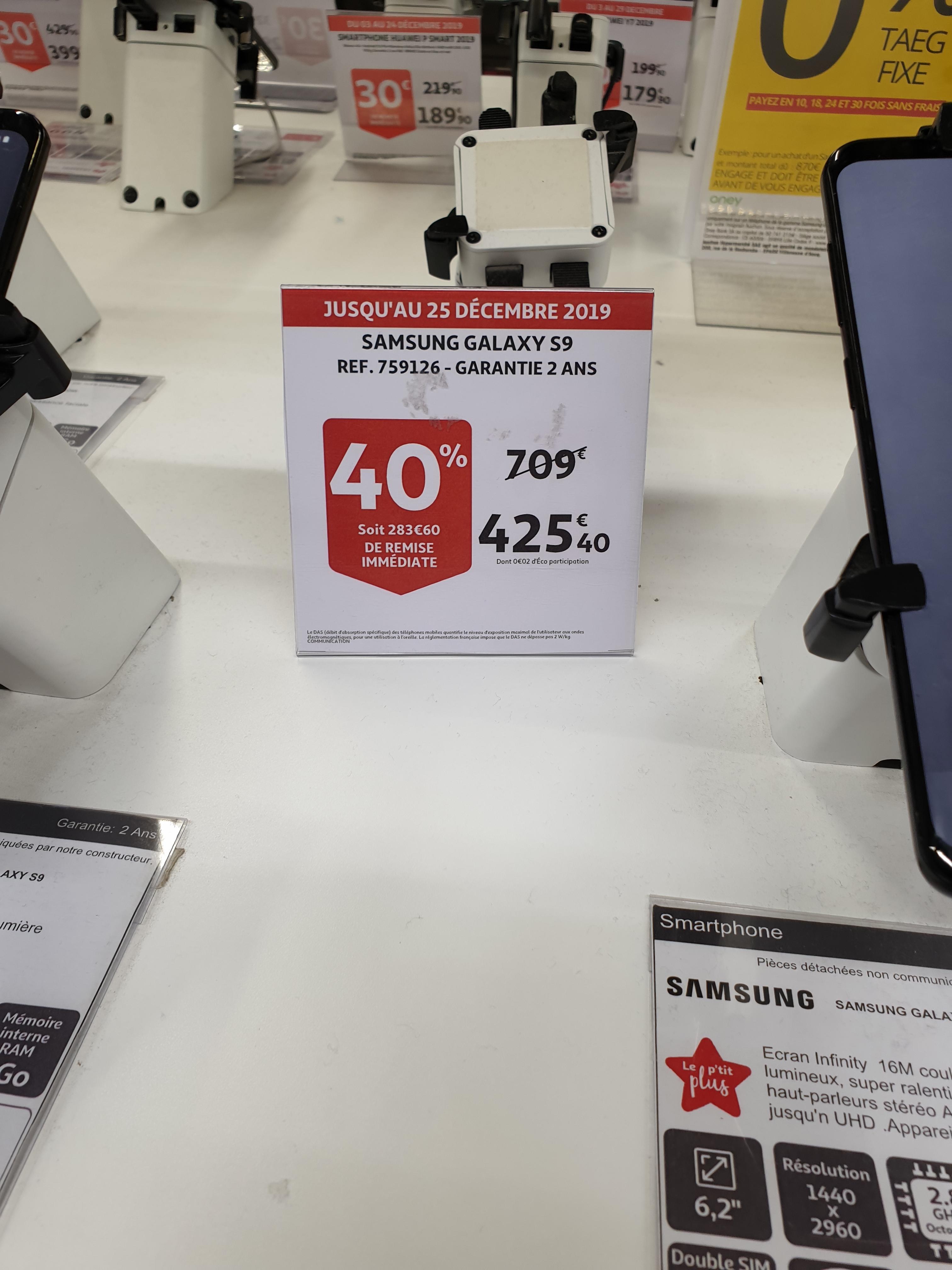 "Smartphone 5.8"" Samsung Galaxy S9 - Auchan La défense (92)"