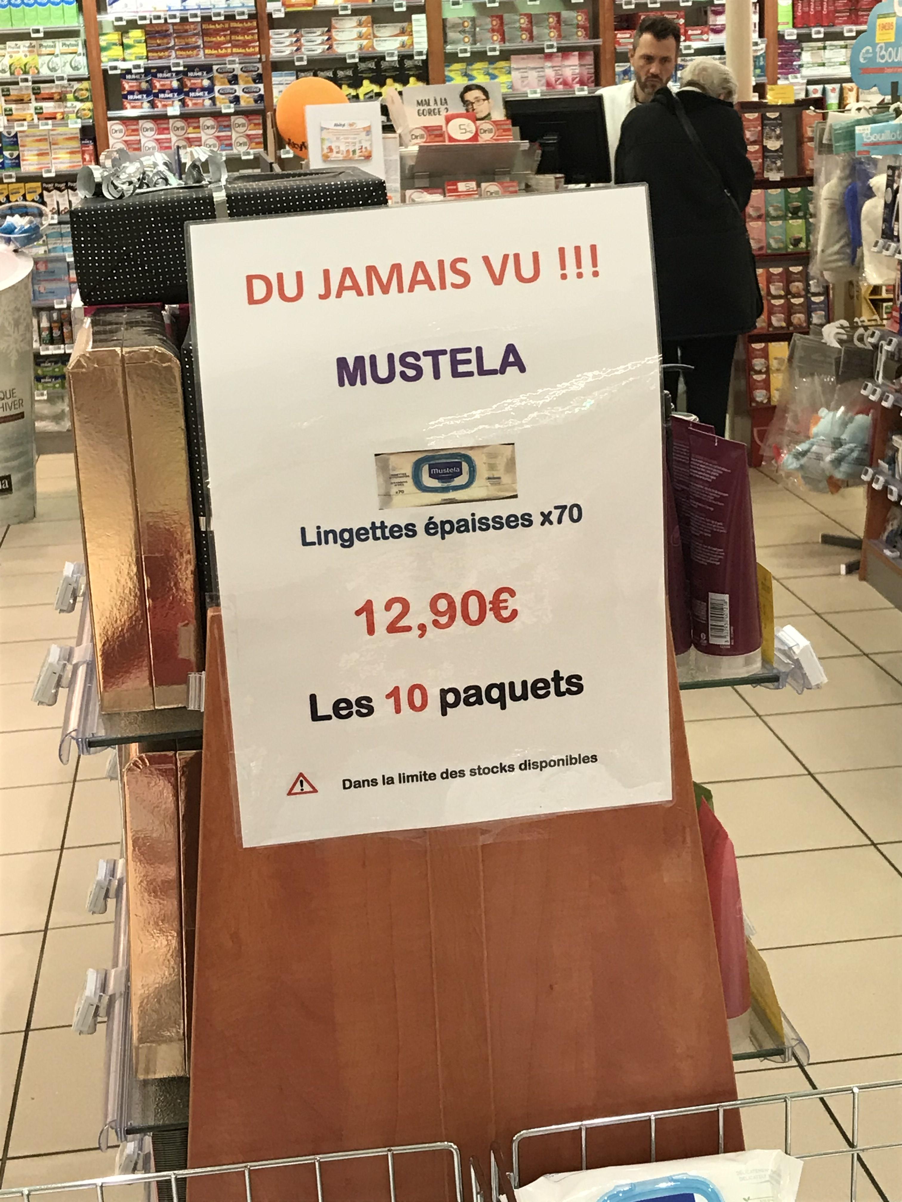 Lot de 10 paquets de 70 lingettes épaisses Mustela - Pharmacie Auchan Laxou (54)