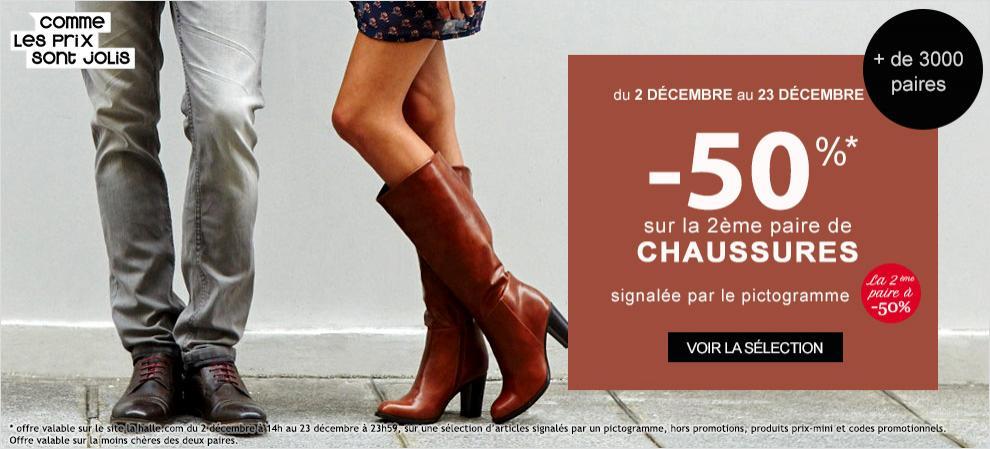 50% de réduction sur la 2ème paire de chaussures (la moins chère) achetée parmi une sélection