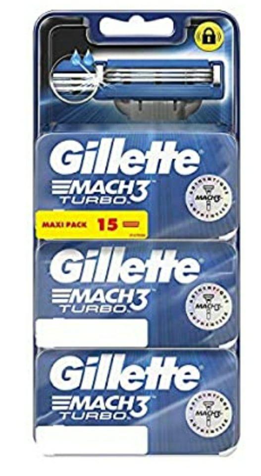 Lot de 15 Lames de rasoir pour Homme Gillette Mach3 Turbo (3x5 Lames)