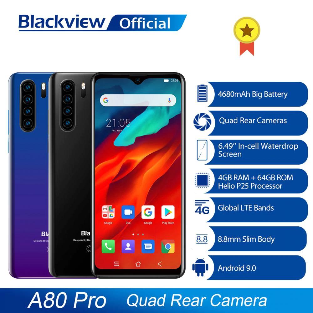 "Smartphone 6.49"" Blackview A80 Pro Black & Blue - 4Go de RAM, 64Go, 4G (B20/28) (76€60 new compte Ali + coupons)"
