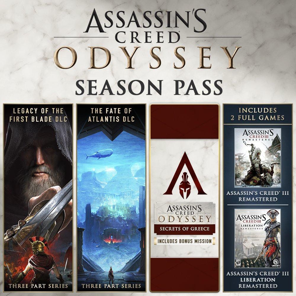 Season Pass Assassin's Creed Odyssey + AC 3 Remastered + AC Liberation Remastered sur PC (Dématérialisé - Uplay)