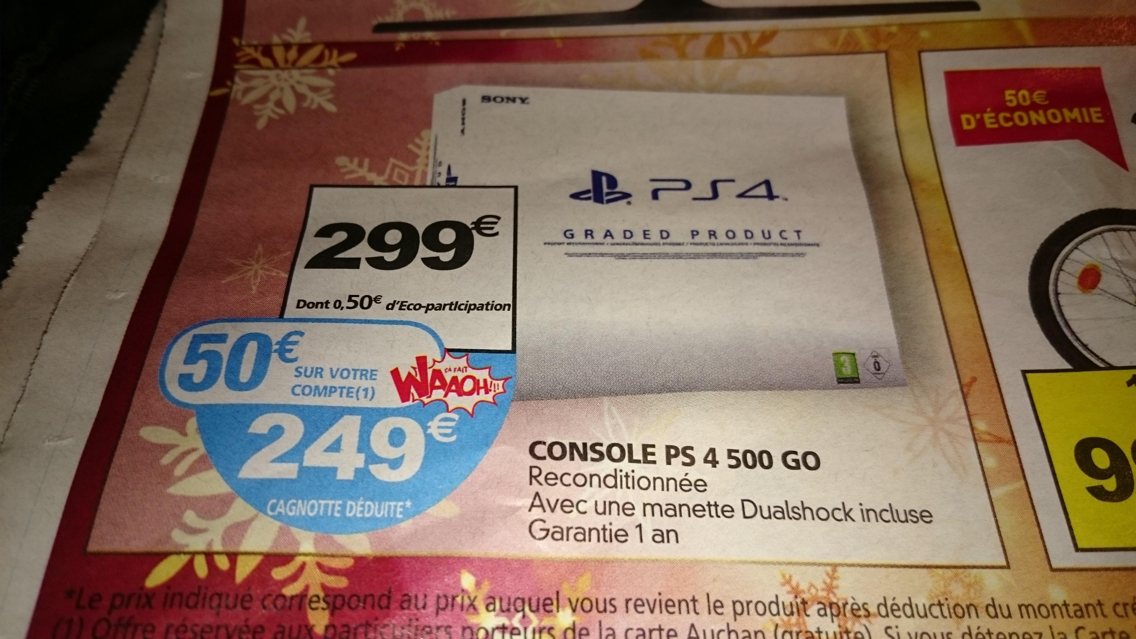 Console Sony PS4 500 Go - Reconditionnée (avec 50€ sur la carte)