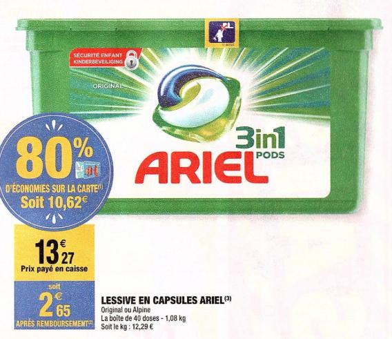 Boite de 40 capsules de lessive Ariel 3 en 1 Pods (Via 10.62€ sur la carte)