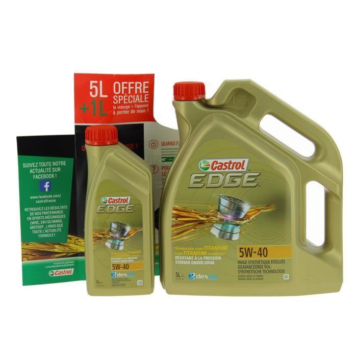 Bidon d'huile moteur Castrol Edge 5W-40 - 5+1 L