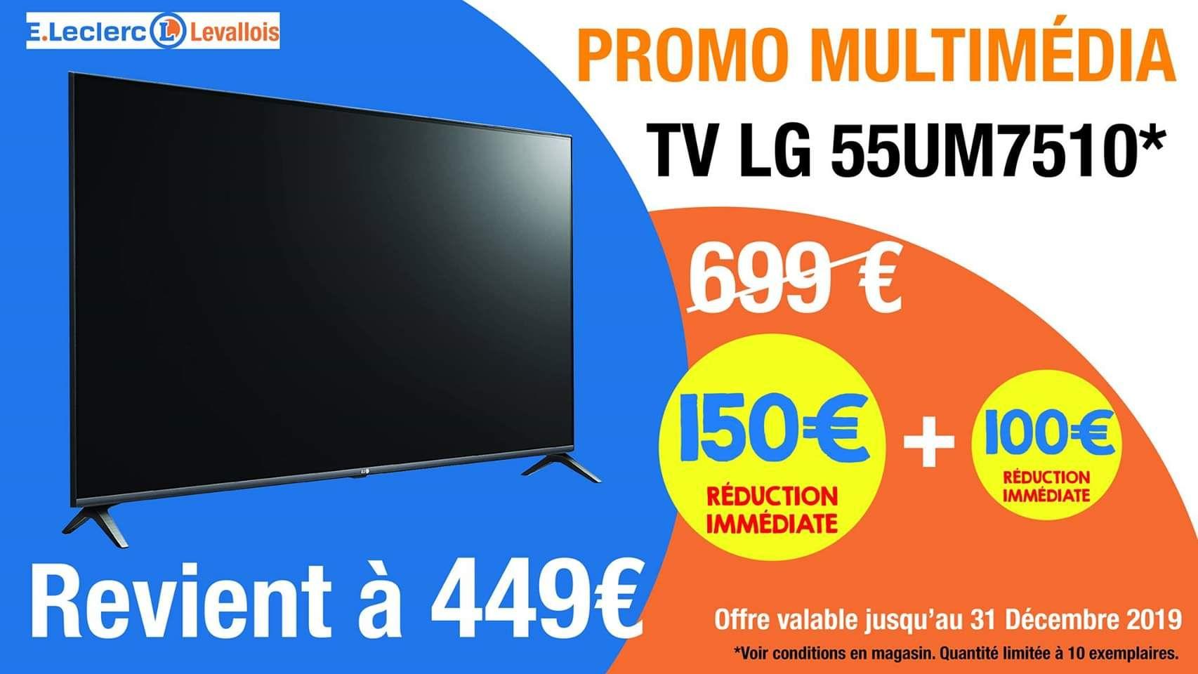 "TV LED 55"" LG 55UM7510 - UHD 4K, HDR, Smart TV (Levallois 92)"