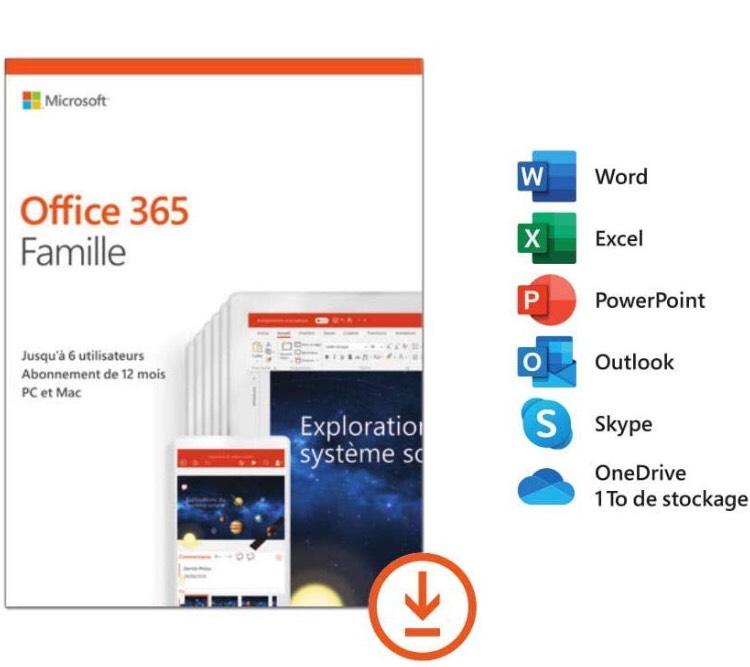 Licence Microsoft Office 365 Famille - 6 utilisateurs, 1 an (Dématérialisé)