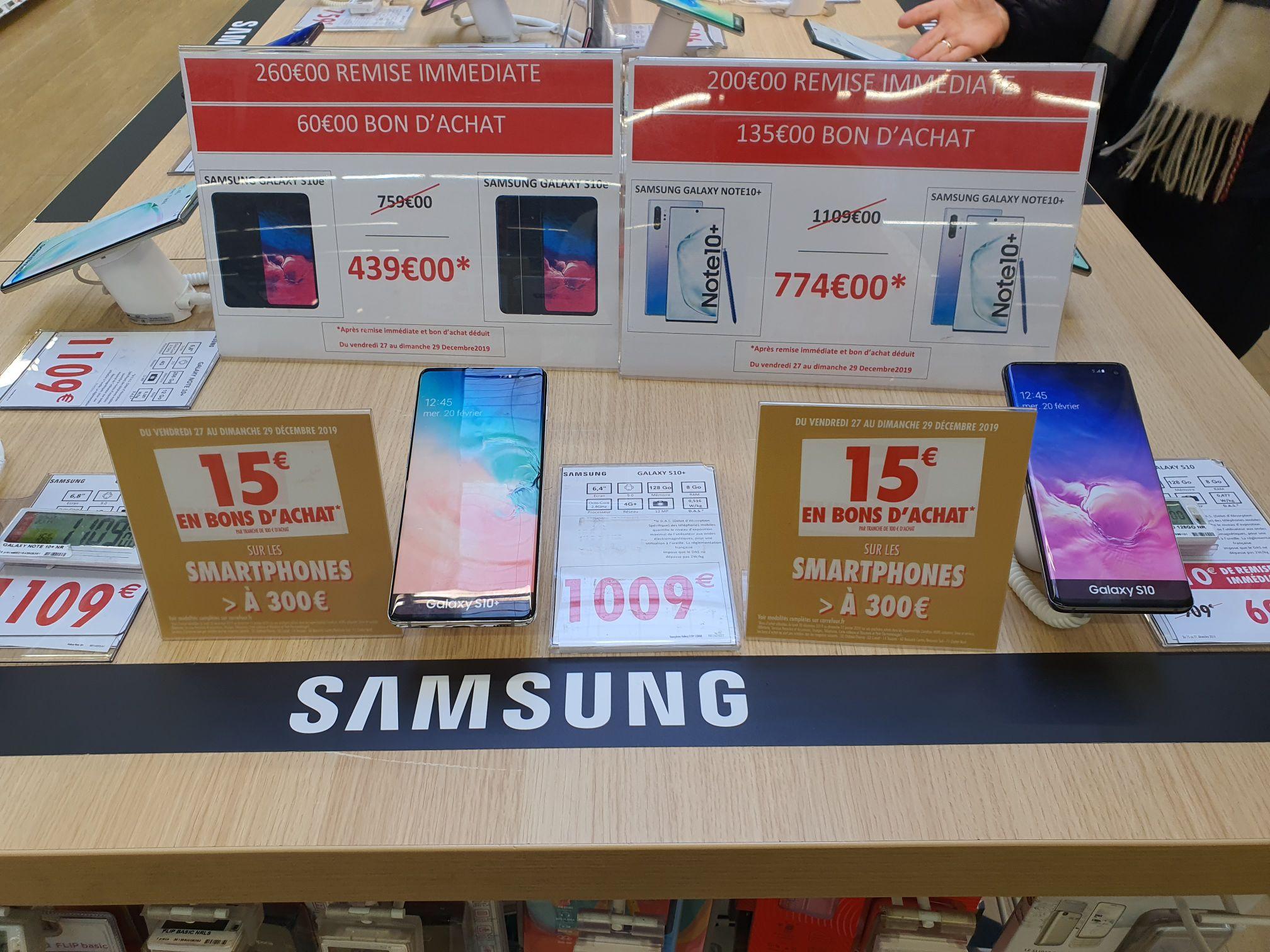 """Smartphone 5.8"""" Samsung Galaxy S10e - 6 Go de RAM, 128 Go (Via 105€ en Bon d'achat) et série S et Note"""