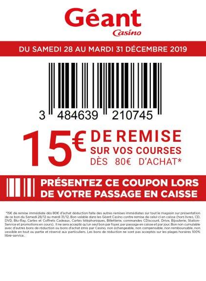 15€ de réduction immédiate dès 80€ d'achat (hors exclusions)