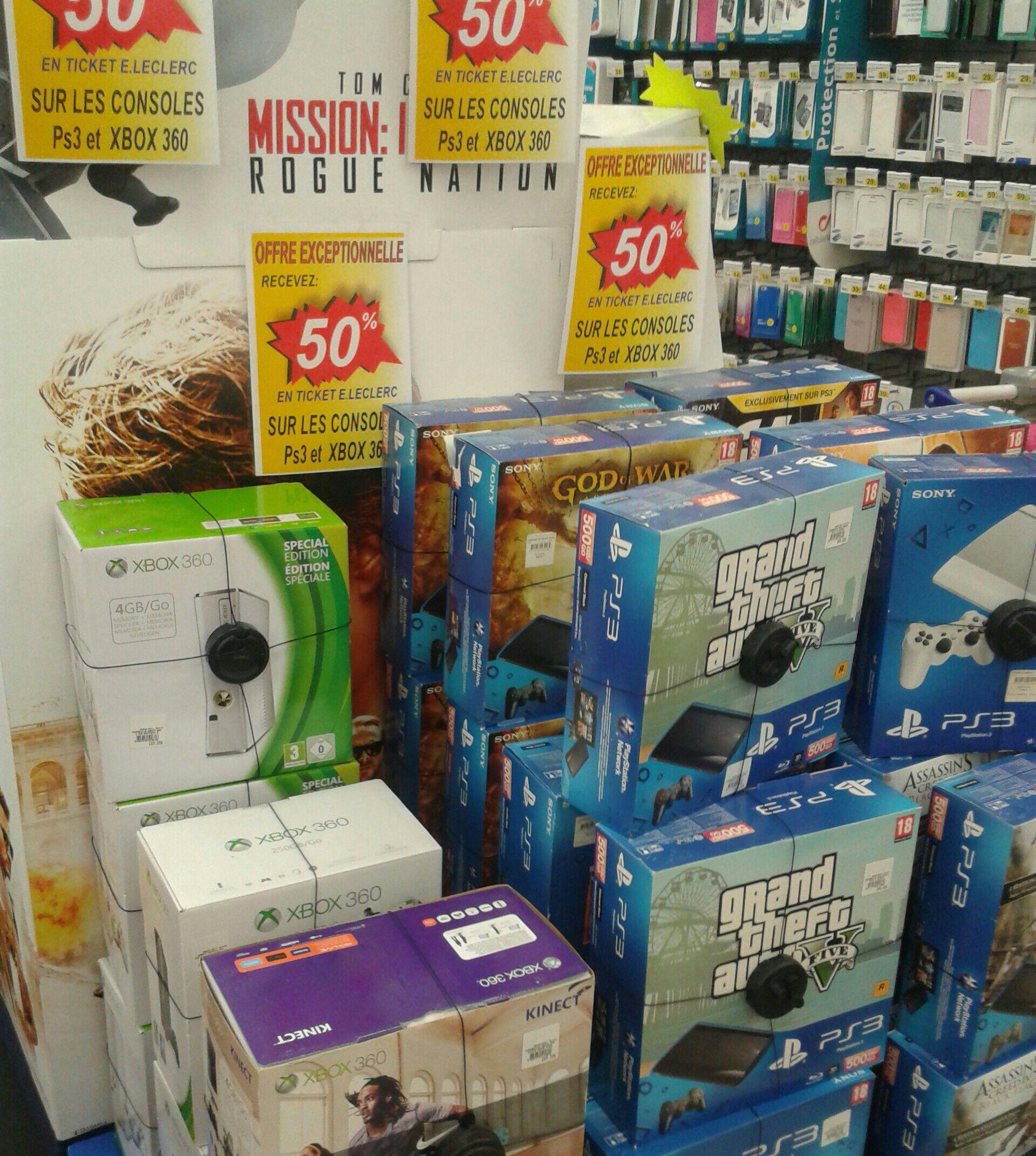 50% offerts en ticket leclerc sur les PS3 et Xbox 360