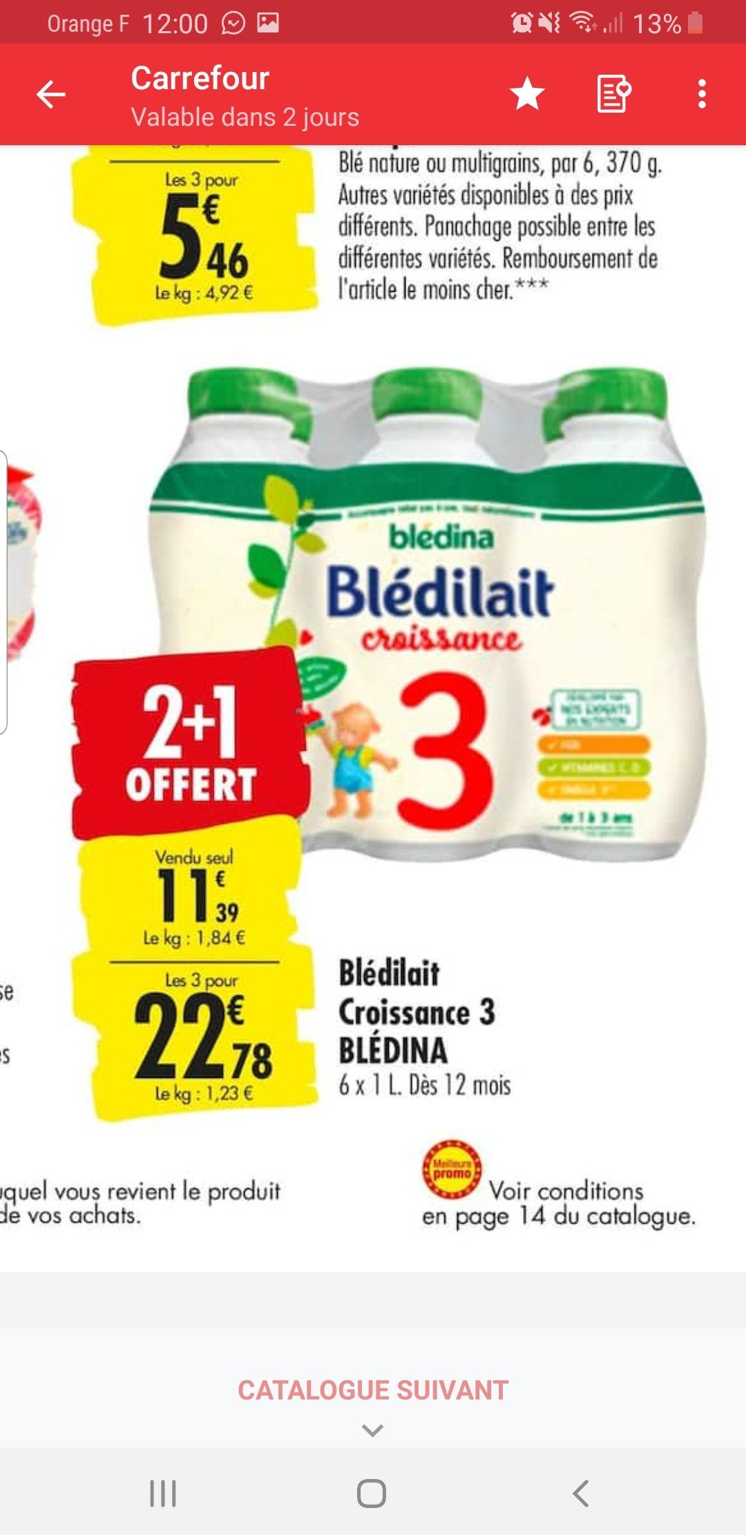 Lot de 18 bouteilles de lait Blédina Croissance 3 - 1L