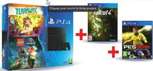 Pack Console Sony PS4 500 Go + Tearaway + Lego Jurassic World + Fallout 4 + PES 2016