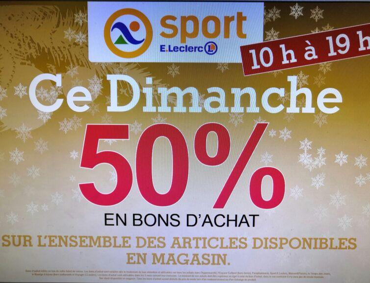 50% crédité en bons d'achat sur l'ensemble des articles disponibles en magasin - Chambly (60)
