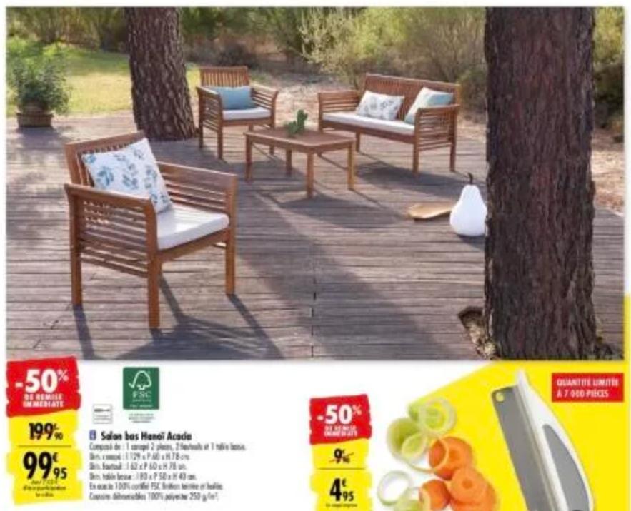 Salon de jardin Hanoi : Sofa + 2 Fauteuils + Table basse en ...
