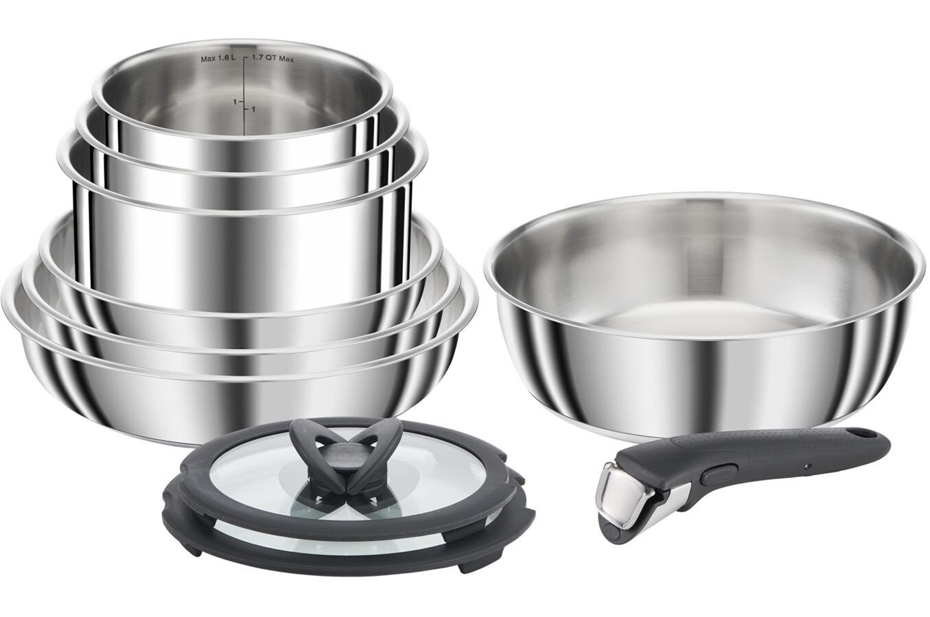Set de 10 casseroles en acier inoxydable SEB Compact L953SA04 - tous feux dont induction (69.99€ en Click & Collect)
