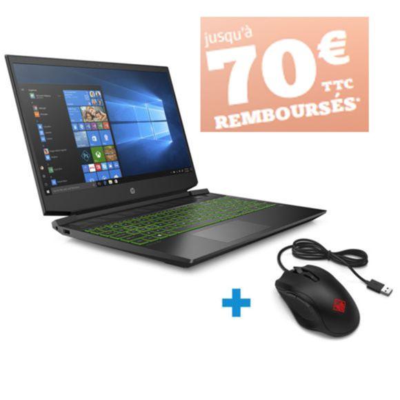 "PC Portable 15.6"" HP Pavilion 15-EC0014NF - Full HD, Ryzen 5 3550H, 16Go RAM, HDD 1To + SSD 128Go, GTX 1650, W10 + souris (via ODR 70€)"