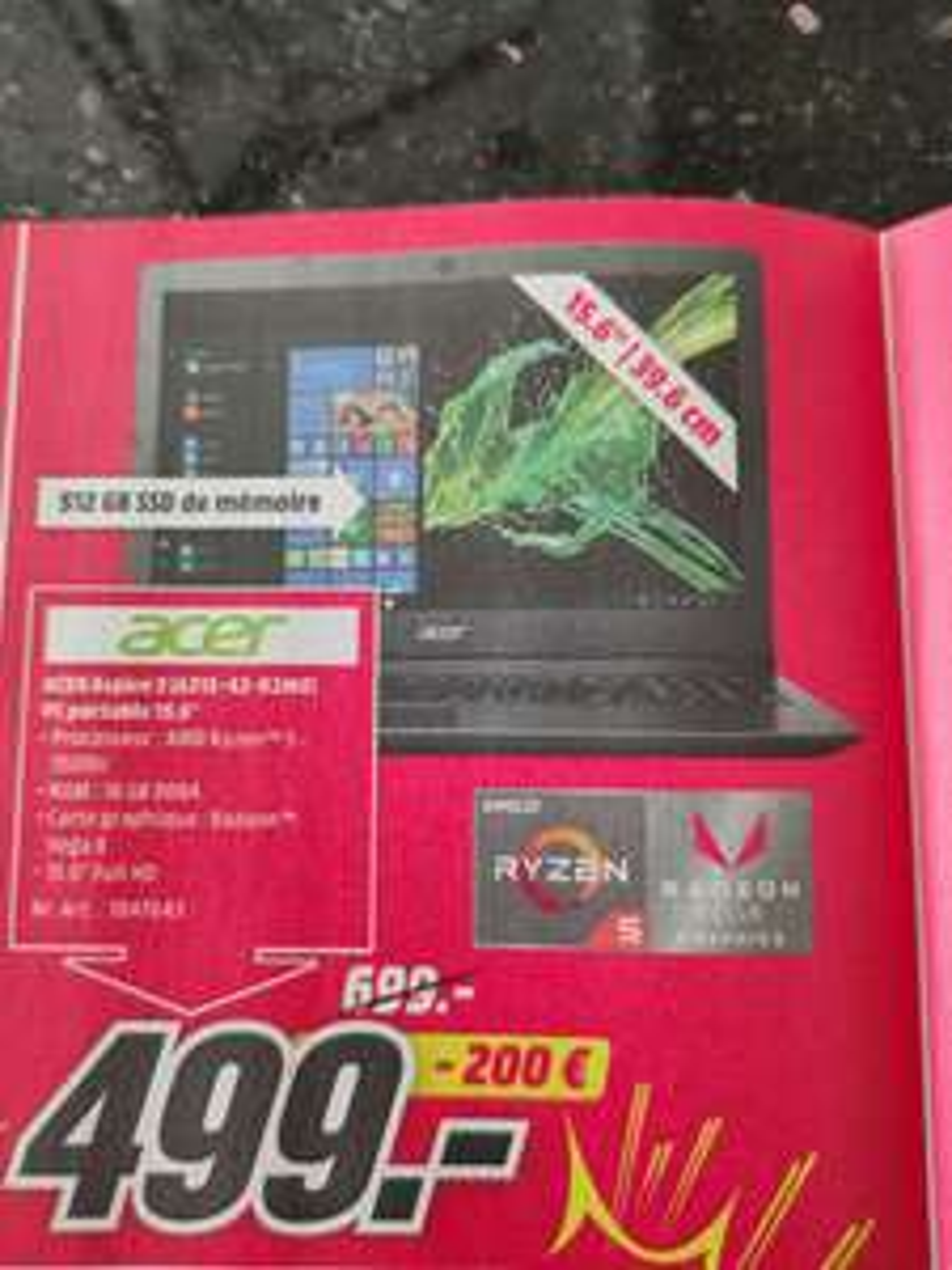 "PC Portable 15.6"" Acer Aspire 3 A315-42-R2M0 - Ryzen 5 3500U, 16 Go de RAM, SSD 512 Go, Vega 8 (Frontaliers Belgique)"