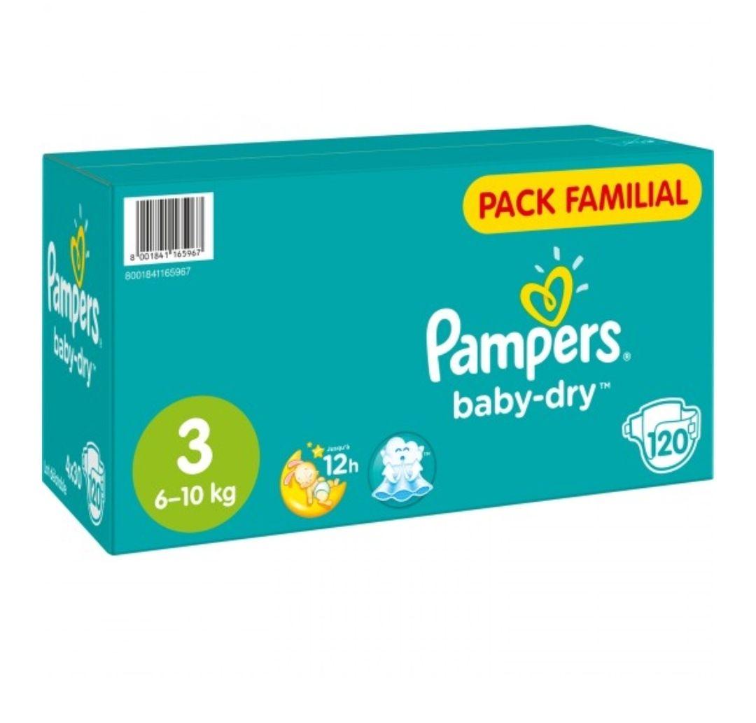 Pack familial exemple 120 couches Pampers baby-dry - Taille 3 (via 20.90€ sur la carte fidélité + BDR)
