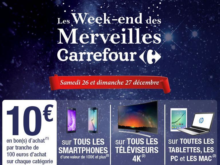 10€ offerts en bon(s) d'achat par tranche de 100€ sur tous les PC / Mac, Tablettes, TV 4K et Smartphones