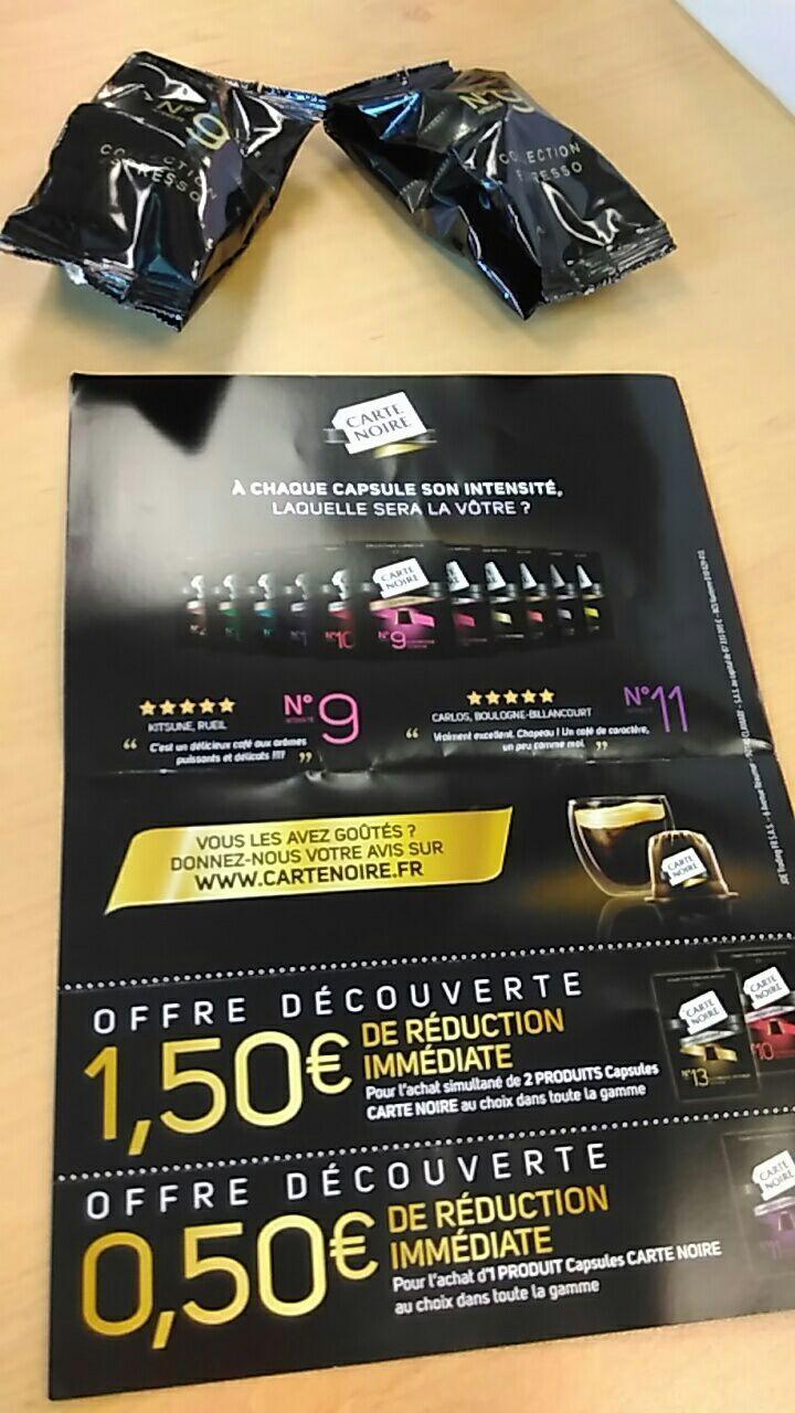 2 capsules Carte Noire offertes