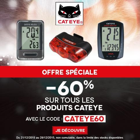 60% de réduction sur tous les accessoires vélo Cateye