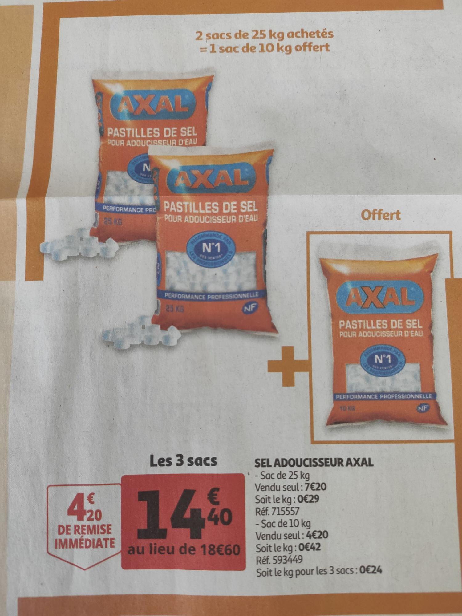 Sel adoucisseur Axal, 60Kg - Hauts-de-France