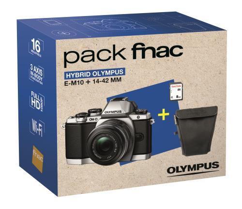 Appareil Photo Hybride Olympus E-M10 Argent + Objectif 14 - 42 mm IIR Noir + Fourre-tout + Carte SDHC 8 Go