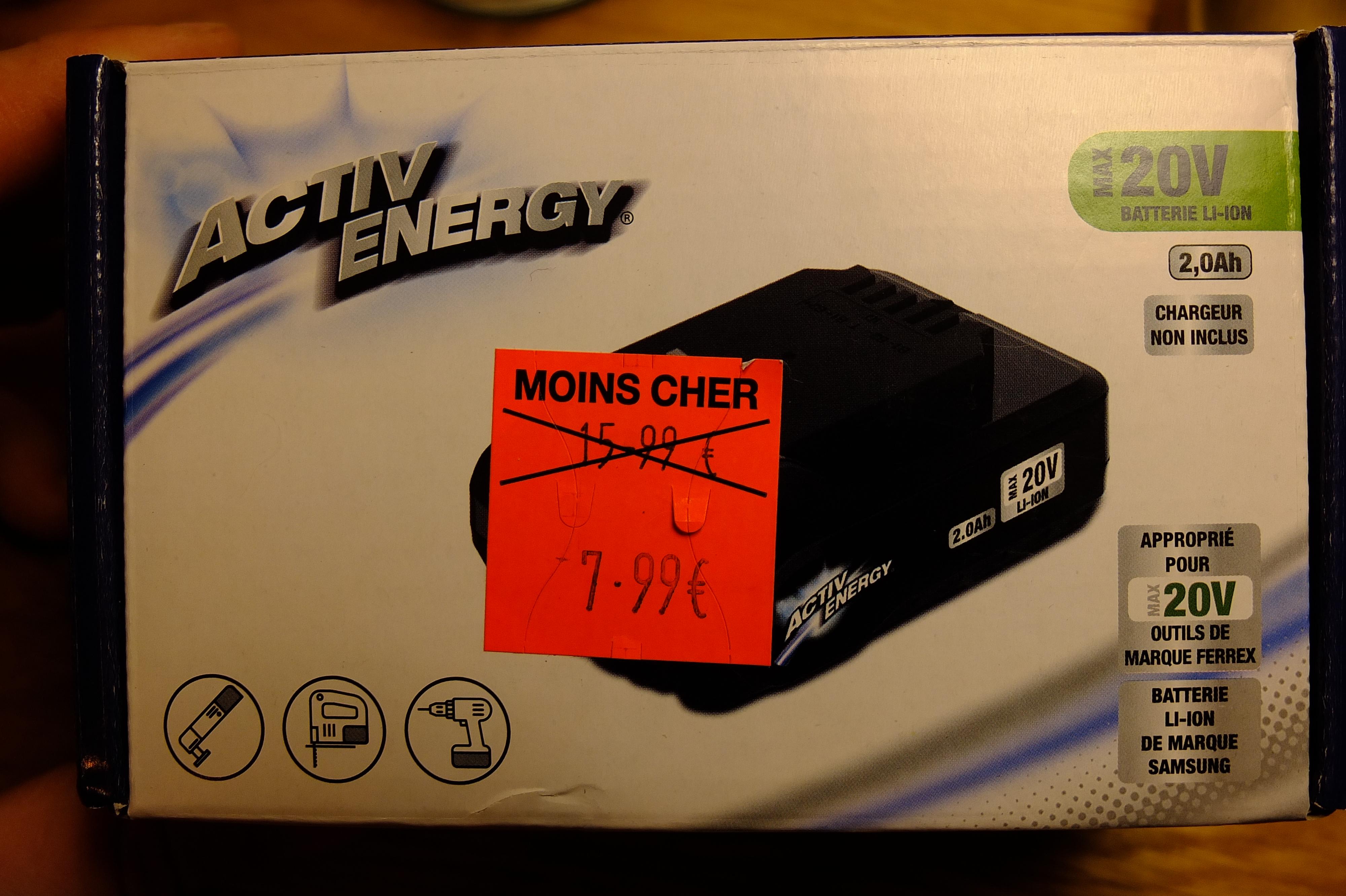 Batterie 20V 2,0 Ah Activ Energy pour outil électroportatif Ferrrex - Cambrai (59)