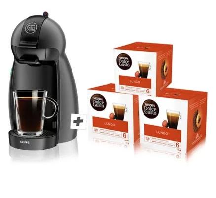 Machine à café Krups Nescafé Dolce Gusto Piccolo YY4212FD + 3 boîtes de capsules x16