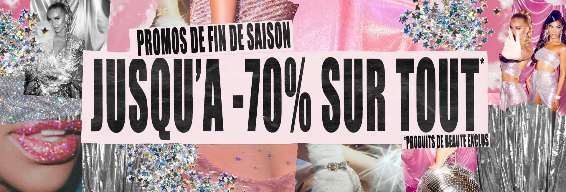 Jusqu'à 70% de réduction sur tout le site (prettylittlething.fr)