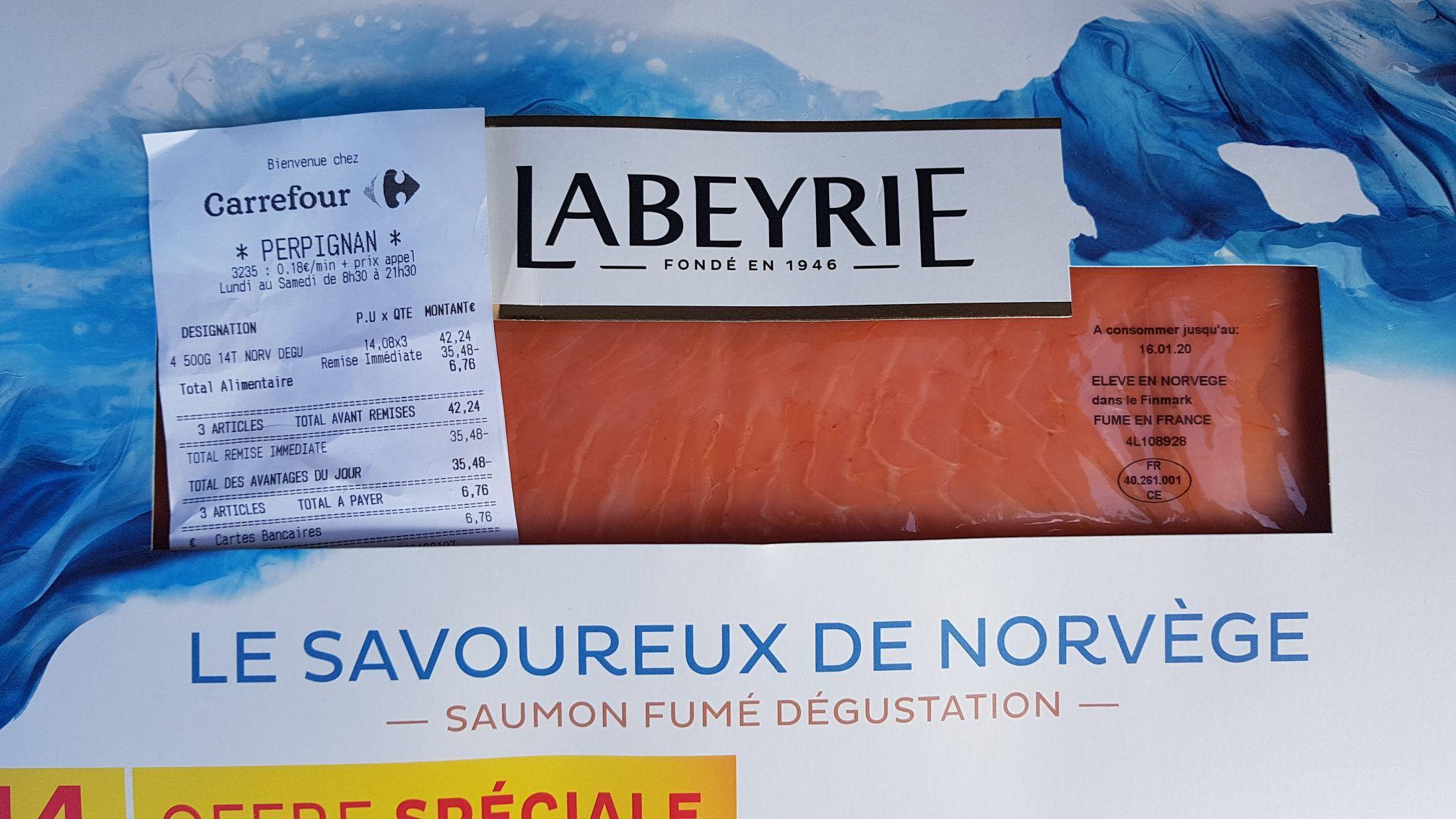 Saumon fumé Labeyrie 14 tranches - 500 g - Perpignan (66)