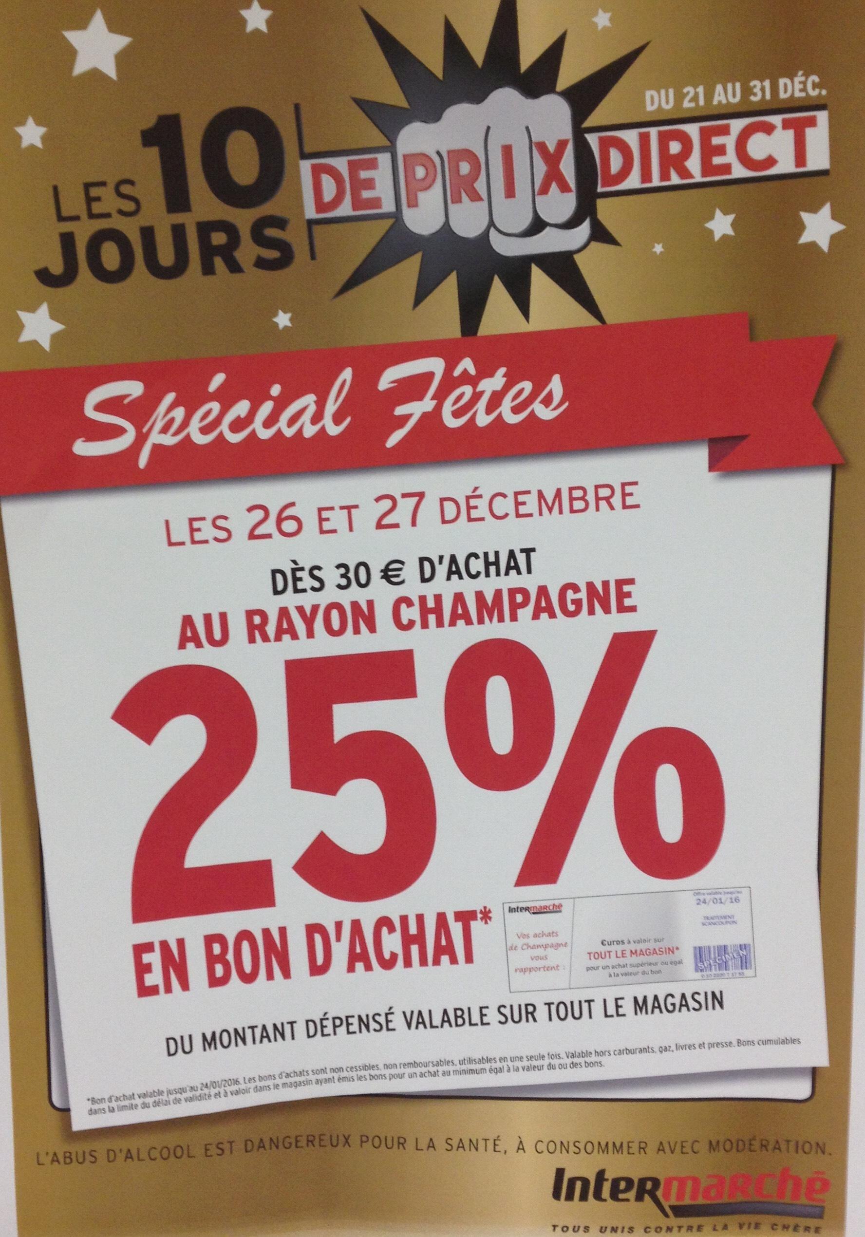 25% offerts en bon d'achat dès 30€ d'achat sur tous les champagnes