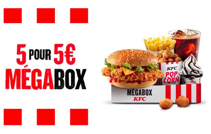 Menu Megabox : Double Krunch BBQ + Frites + Boisson + 11 Popcorn Chicken + Sundae