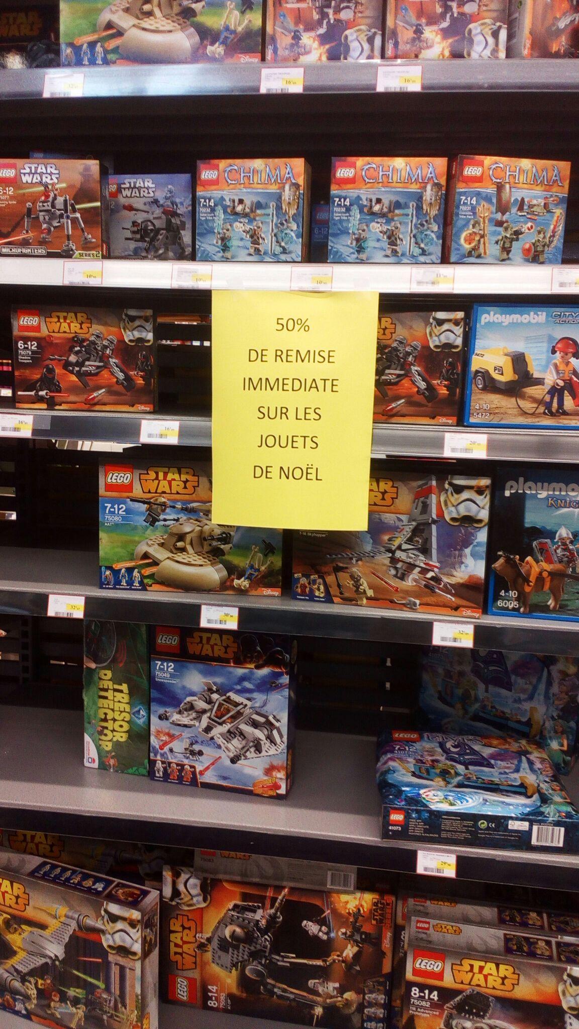 50% de réduction immédiate sur les jouets de noël (Lego, Playmobil...)
