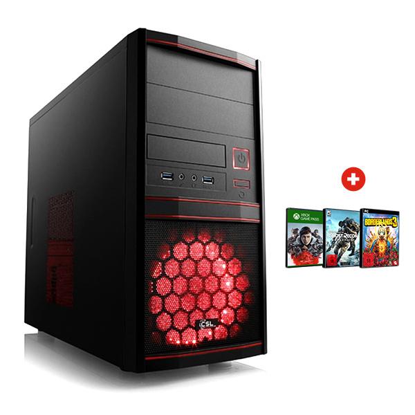 Tour PC Gaming Red - Ryzen 3 2300X, RX 570 OC 8 Go, RAM 8 Go, SSD 240 Go, Alim. 500W + 1 Jeu offert au choix + 3 mois offerts Xbox Game Pass