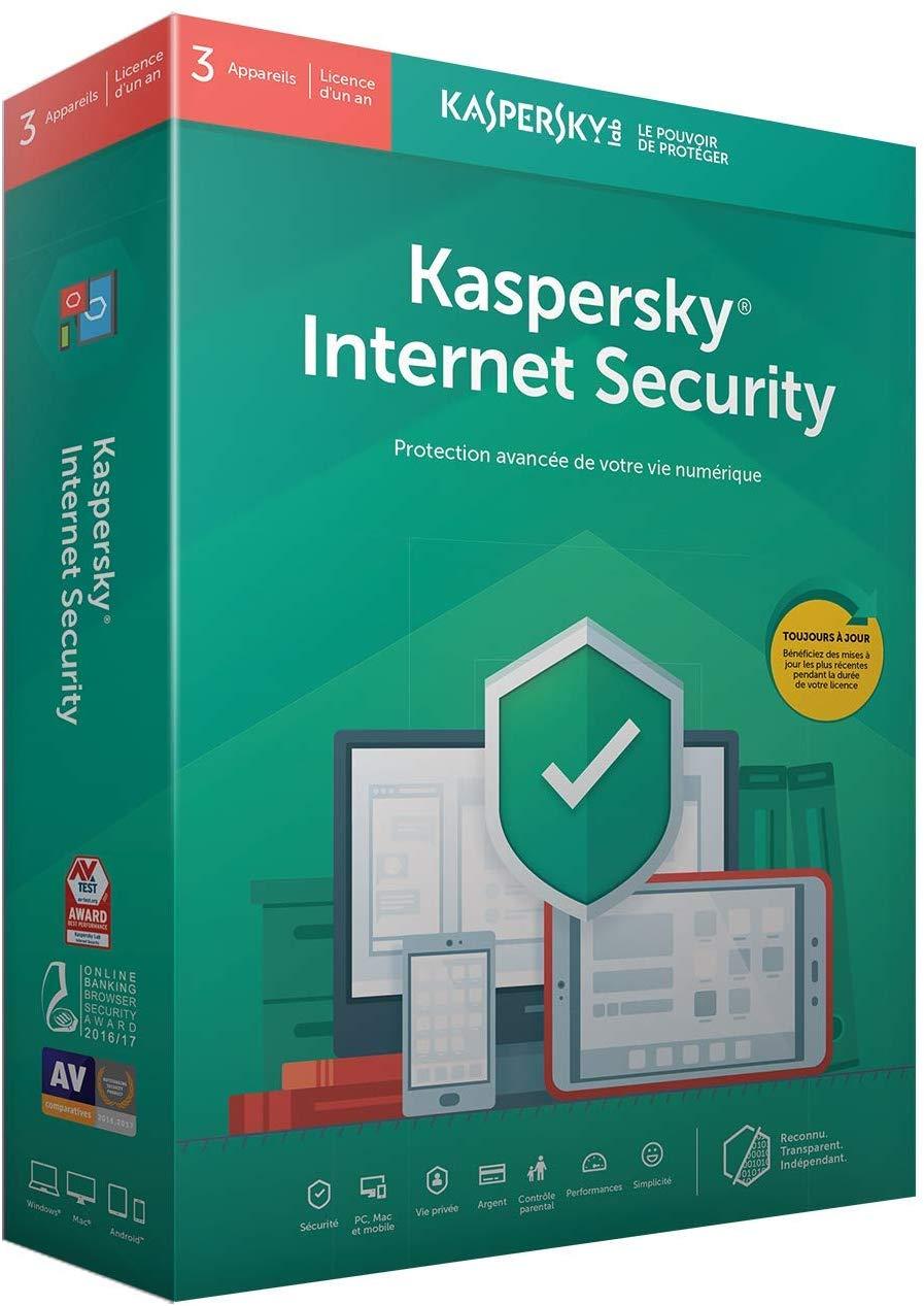 Licence Kaspersky Internet Security 2018 - 3 postes, 1 an à 4,59€ et 5 postes à 5,89€