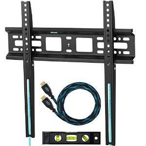 """Support mural pour écran 20-55"""" + câble HDMI tressé 3m norme 4K + Niveau à bulles"""