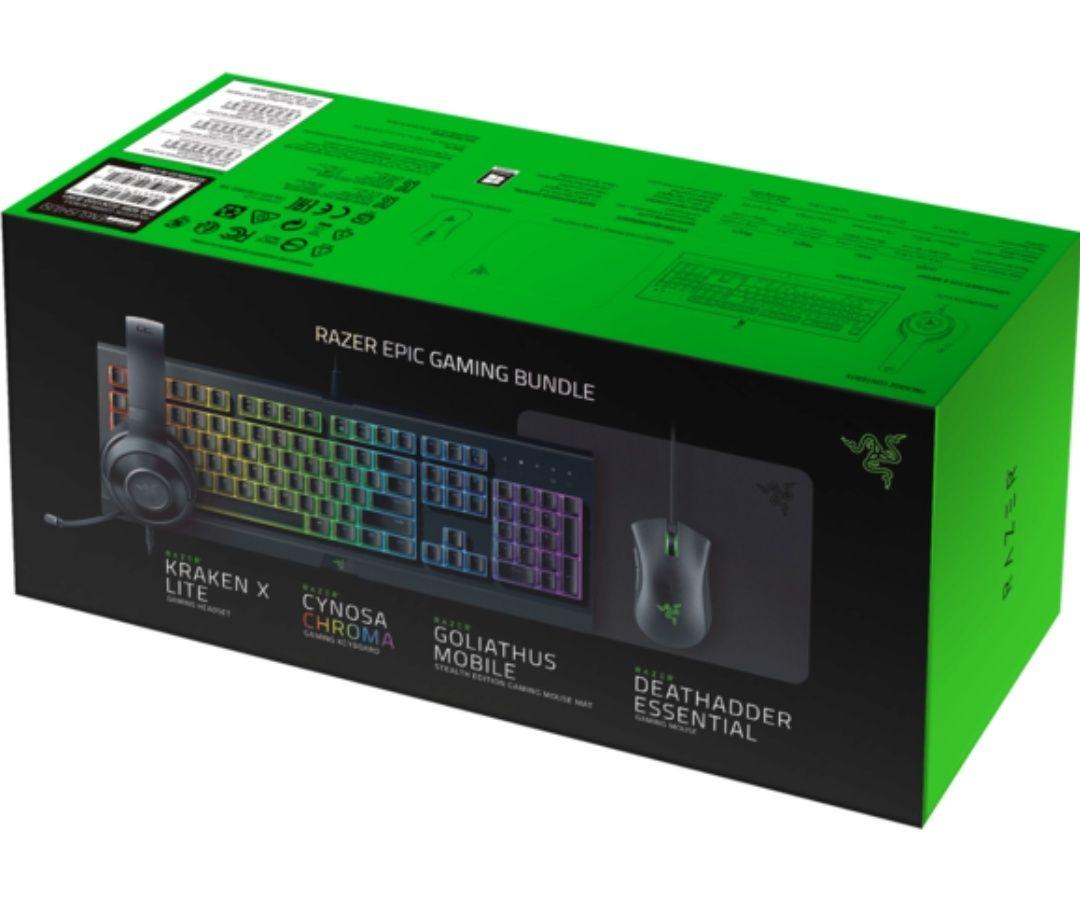 Pack Gaming Razer: Clavier Cynosa Chroma + Souris Deathadder Essential + Casque Kraken X Lite + Tapis Goliathus Mobile Stealth Ed